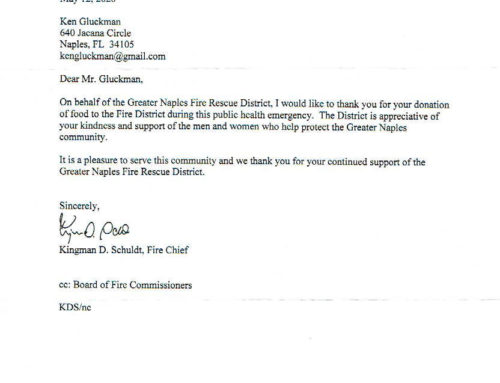 Thank You Letter From Greater Naples Fire Rescue District